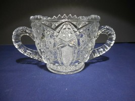 Vintage McGee Prescut Open Sugar Bowl Dish Double Handled MG6  Pressed Star - $14.99