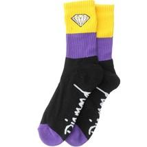 1 NEW Pair Diamond Supply Co Big Stripe Emblem Socks (black / purple / yellow) image 2