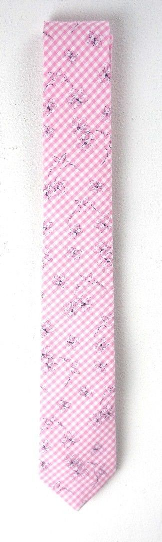 NEW $55 BAR III PINK CHECKERED BEAUFORD BIRD FLORAL PRINT SKINNY NECK TIE