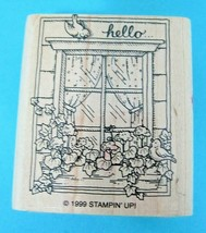 1999 Stampin Up Hello Rubber Stamp Window Flower Box & Birds Great Shape T29 - $8.42