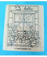 1999 Stampin Up Hello Rubber Stamp Window Flower Box & Birds Great Shape... - $8.42