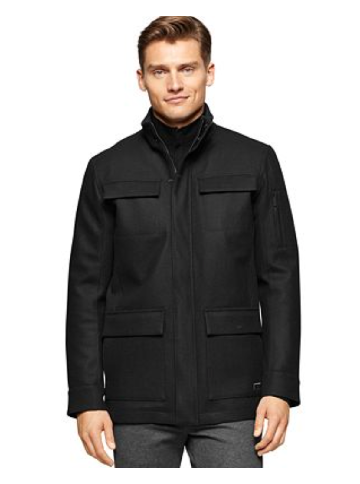 Primary image for $298.00 Calvin Klein Mens Coat 4 Pocket Full Zip Wool Blend Peacoat Black Size M