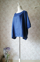 PLUS SIZE linen tunic Over-sized Blue tunics Summer Natural linen clothing NWT image 4