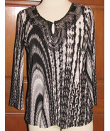 7 WONDERS black artsy abstract stretch polyester long sleeve blouse M (T... - $7.90