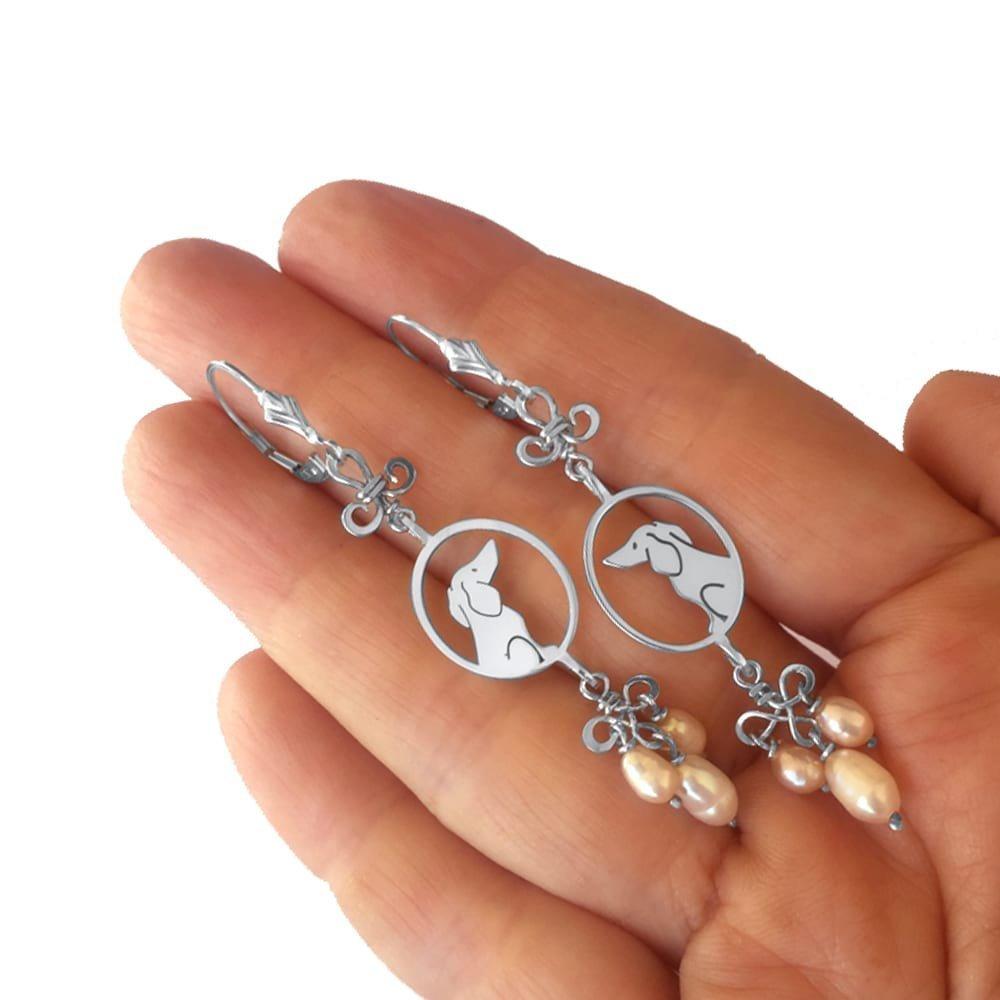 Dachshund Earrings - Pink Pearls Silver Dachshund, Doxie Dangle Earrings,  IMAGE