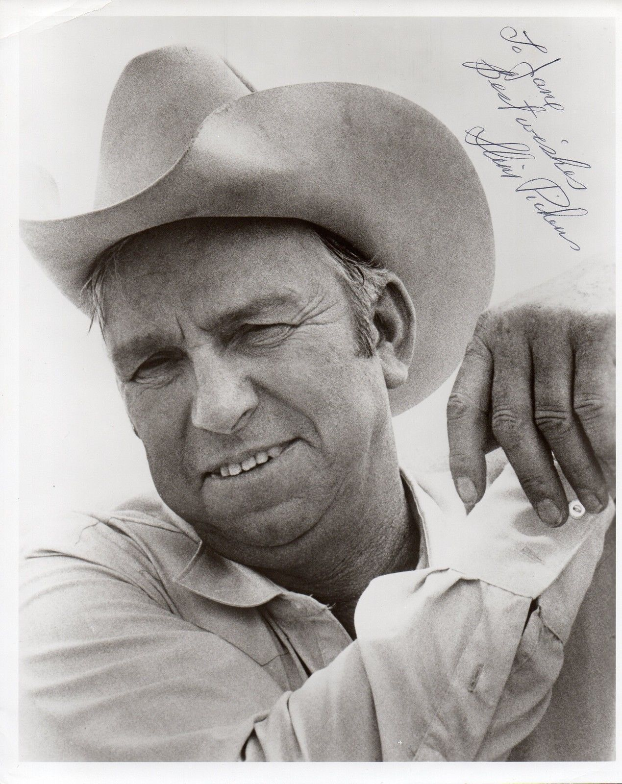 SLIM PICKENS Autographed 8x10 photo. Nicely inscribed and signed.