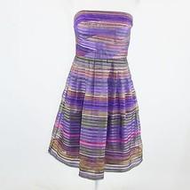 Purple beige striped sheer overlay DONNA MORGAN strapless A-line dress 10 - $24.99