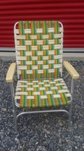 Vintage Aluminum Metal Webbed Folding Lawn Chair Party Patio Camp Beach ... - €24,32 EUR