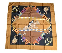 "Gucci Vintage Scarf Horse riding 87 cm Silk Brown 34"" inch shawl - $167.31"