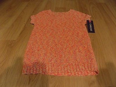 16f09f77b4f Girls Size Large 10-12 Cherokee Coral Orange Metallic Short Sleeve Sweater  New