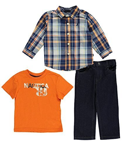 Nautica Baby Boy's 3-Piece Outfit Woven Shirt Tee Jeans (12M)