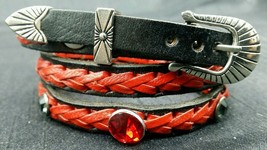 New Black Hatband w/ Braided Red Leather, Crystals & Buckle Set Cowboy Hat Band - $19.10