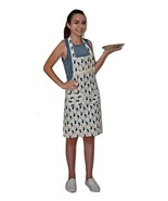 Women's Bib Apron with Handpockets Whale Pattern with Lace Trim in White... - $5.99