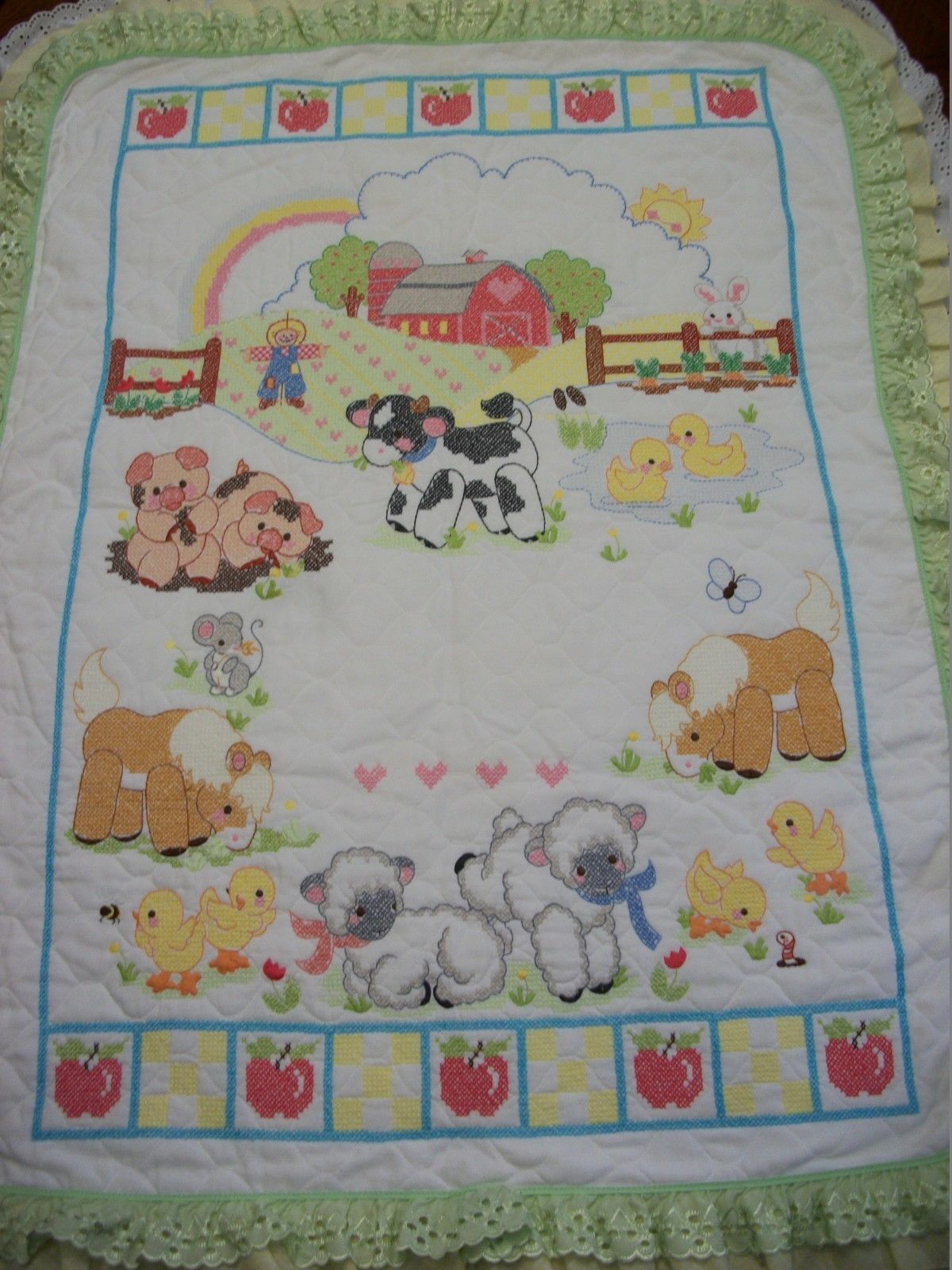 "Hand Quilted XStitched ""DOWN ON THE FARM"" Baby Quilt Crib Blanket add Baby name"