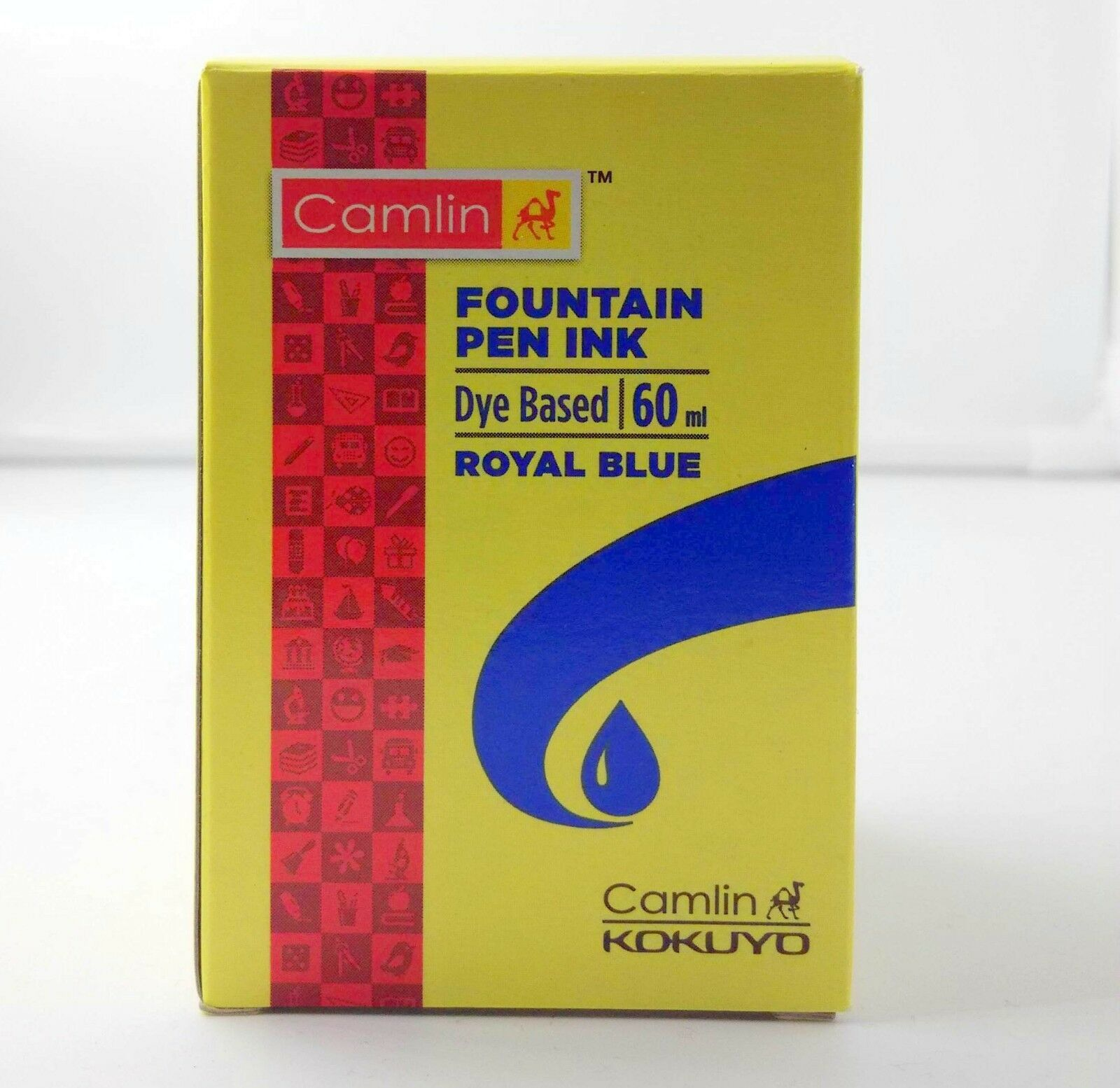 5 Camel Fountain Pen Ink ROYAL BLUE Bottles 60 ml 2 oz Camlin 5 qty New Sealed