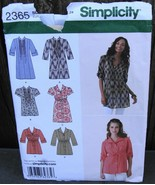 Simplicity 2365 Misses Tunic w Front Variations Pattern Sizes 16-24* - $14.99