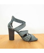36 / 6 - Pantanetti Strappy Perforated Dark Gray Leather High Heel Sanda... - $48.00