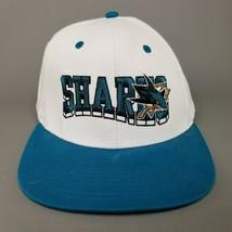 VTG San Jose Sharks Reebok Snapback Baseball Hat Block w/ Logo White Teal - $23.36