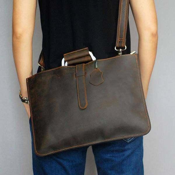 On Sale, Handmade Men Shoulder Bag,Horse Leather Men Tote, Messenger Bag