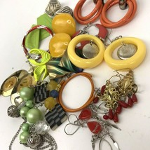 Vtg Earring lot pierced colorful post dangler boho hippy Mod mixed mater... - $14.84