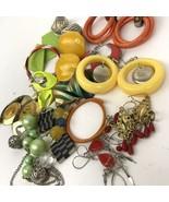 Vtg Earring lot pierced colorful post dangler boho hippy Mod mixed mater... - $14.84