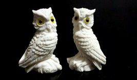"Pair Vintage Carved White Alabaster Resin 5"" Owl Sculptures w/Yellow Eye... - $10.88"