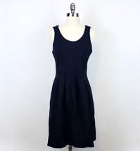J. CREW Dress Sz 6 Pleated Flare Dress Navy Blue Ponte Knit Tank Sleevel... - $39.99