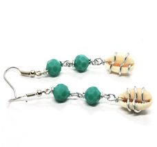EARRINGS THE ALUMINIUM LONG 6 CM WITH SEASHELLS AND CRYSTAL GREEN WATER image 7