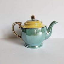 15 Piece Tea Set Yellow Teal Green Lusterware Art Deco Made in Japan Gol... - $124.99