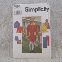 Simplicity Pattern # 8312 Size Aa 7,8,10--GIRLS Jacket , Pants And SKIRT--16 Pie - $12.86