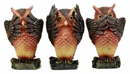 See Hear Speak No Evil Forest Owls Figurine Animal Set Wisdom Of The Woo... - $29.99