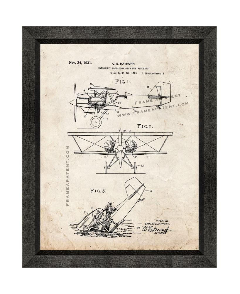 Primary image for Emergency Flotation Gear for Aircraft Patent Print Old Look with Beveled Wood Fr
