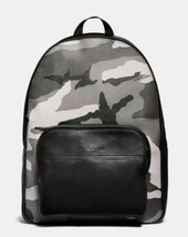 New! Coach Houston Black Backpack Camo Print Leather Luggage Travel School Bag