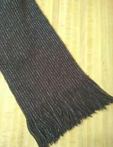 "Scarf Women's 63"" Oblong Rectangle Brown Metallic Striped Stripes Fringe... - $19.71"