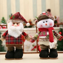 Christmas Doll Snowman Santa Claus With Telescopic Rod Manual Cloth Red ... - $27.00