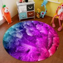 3D Purple Feather 22 Non Slip Rug Mat Room Mat Round Quality Elegant Carpet AU - $65.06+