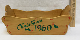 Wooden Box Handmade Christmas 1960 Painted Wood Envelope Card Scalloped ... - $14.84