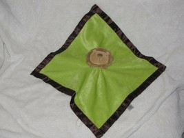 "Baby Essentials Green Lovey Lion Rattle Security Blanket Brown Satin Back 14X14"" - $19.79"