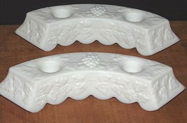 2 Vintage Westmoreland Milk Glass Double Candlesticks-W/Grapes Cluster w... - $21.29