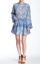 NEW FREE PEOPLE Women's Blue Sun Printed Long Blouson Sleeve Cutout Dress Small  - $59.79