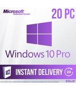 Microsoft Windows 10 Pro Full version 32-Bit 64-Bit 20PC's Key Lightning... - $189.99