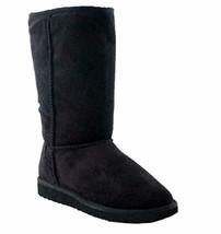 SODA Women's Soong Comfort Faux Suede Fur Mid- Calf Flat Boot, NAT, 8 M US - $34.60