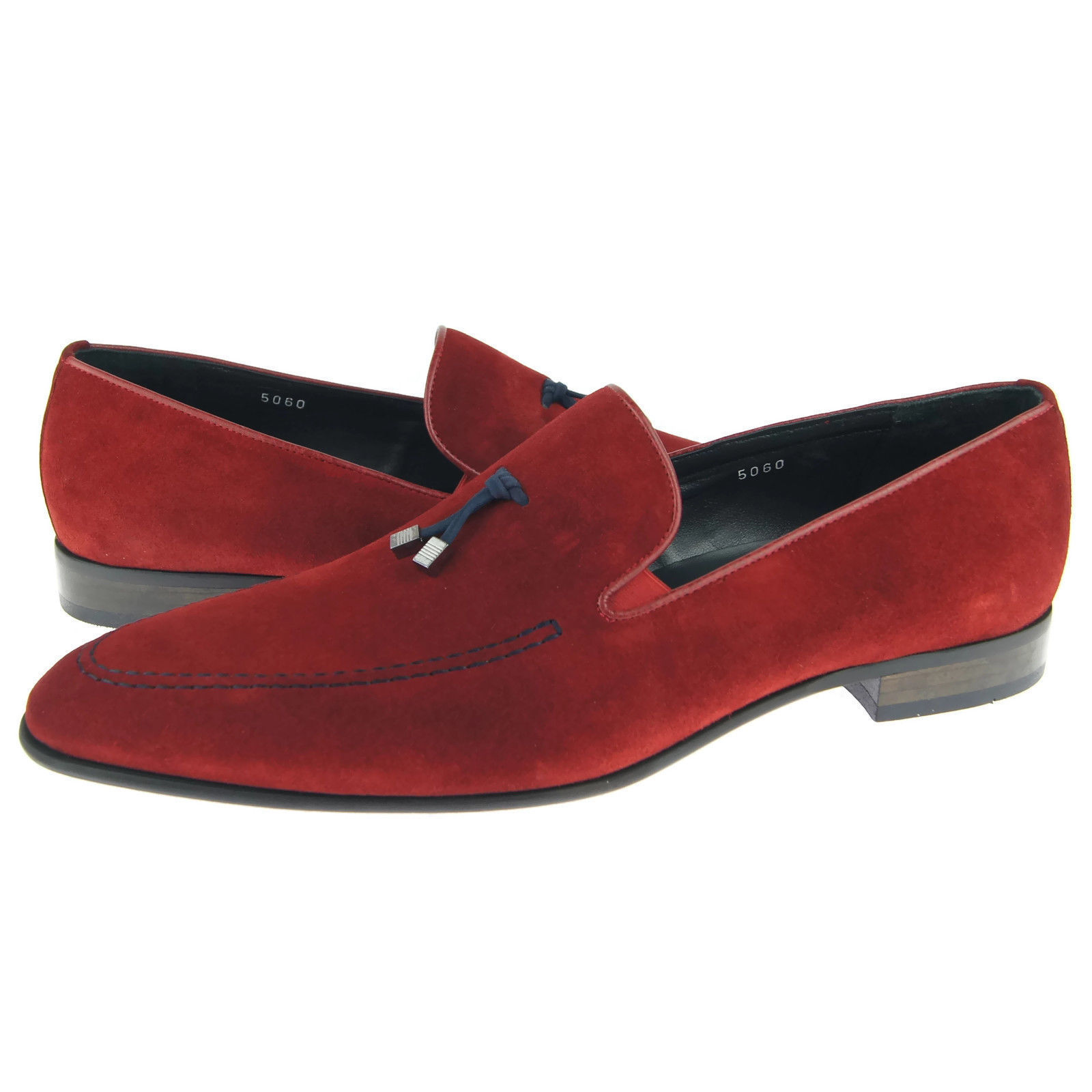 Red Color Pointed Apron Toe Suede Leather Tassel Loafer Slip Ons Men Shoes