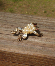1952 Vintage Trifari Frog Pin, Park Ave Zoo Book Piece, Pat Pend, Faux P... - $205.00