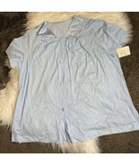 Vanity Fair Womens SZ 44/ XL Baby Blue Pajama Top Sleep Shirt Vintage NWT - $19.99