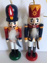 Vintage Lot of two Wooden Nutcrack Soldier 4.75 inch Christmas Tree Orna... - $9.89