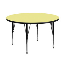 Offex 48'' Round Yellow Laminated Activity Table with Height Adjustable ... - $234.59