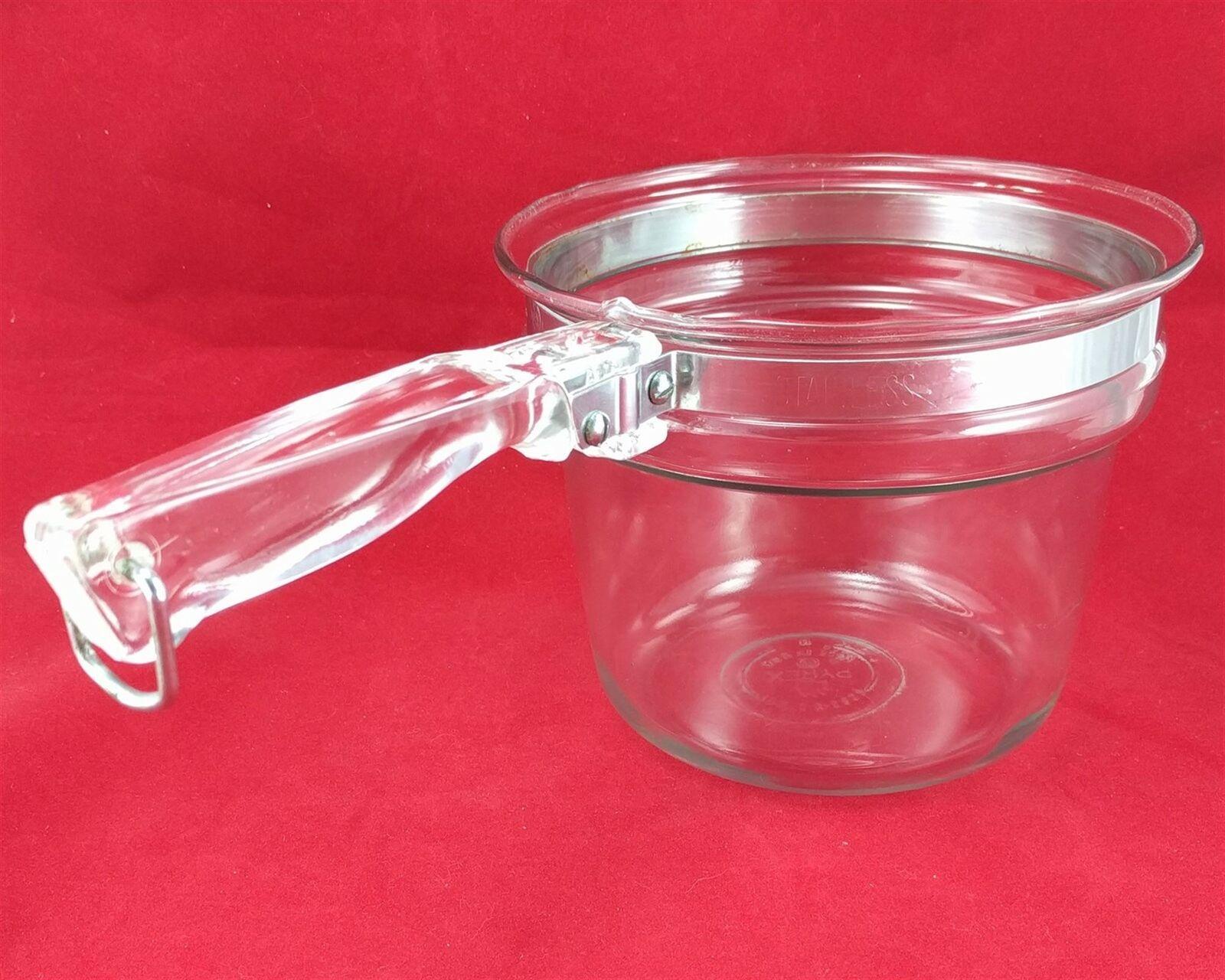 Pyrex Flameware 6283U 1½ qt Vintage Glass Saucepan w/ Stainless Steel Band
