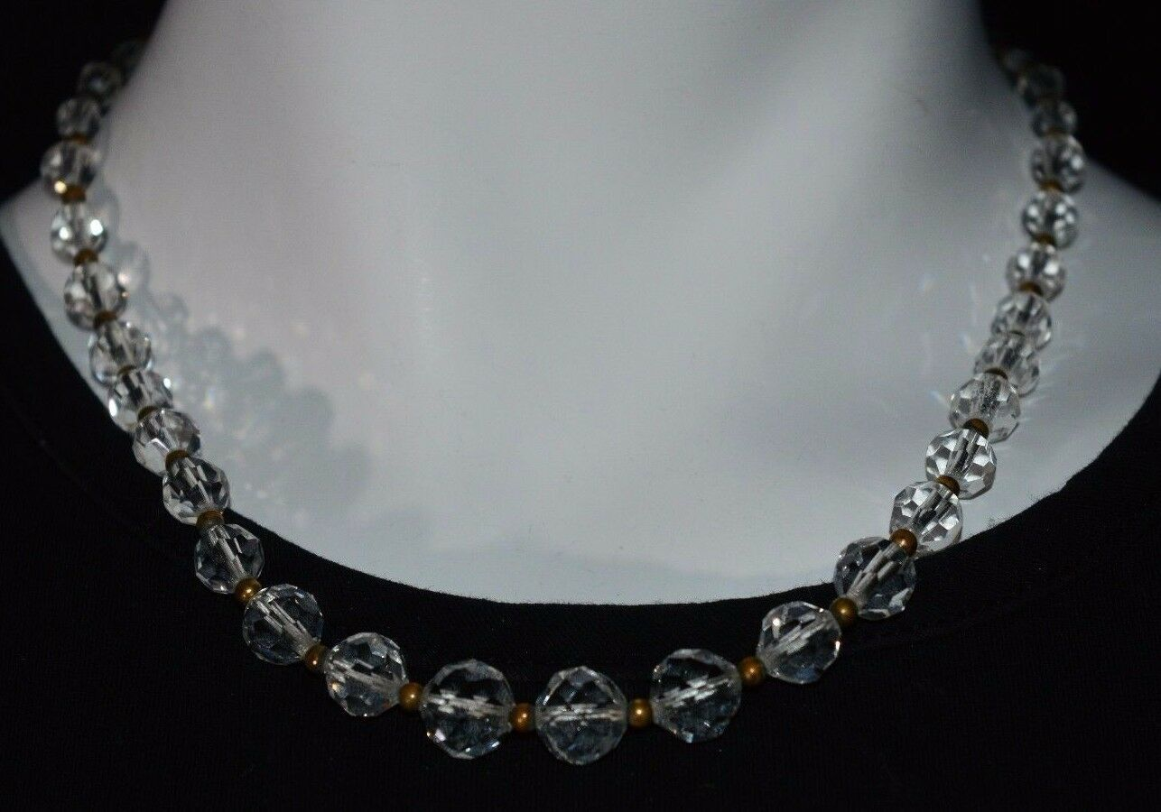 Vintage Gold Tone AB Clear Crystal Bead Beaded Choker Necklace Art Deco Style B