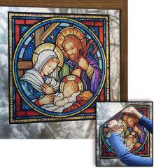 Holy family nativity window vinyl d42